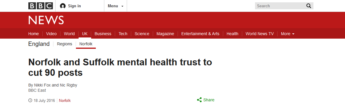 BBC News Norfolk and Suffolk mental health trust to cut 90 posts