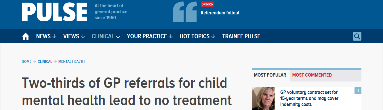 Pulse Two-thirds of GP referrals for child mental health lead to no treatment