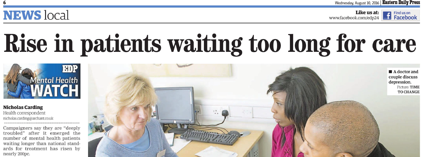 EDP It is deeply troubling Number of mental health patients in Norfolk and Suffolk waiting longer than national standard rises by nearly 200pc