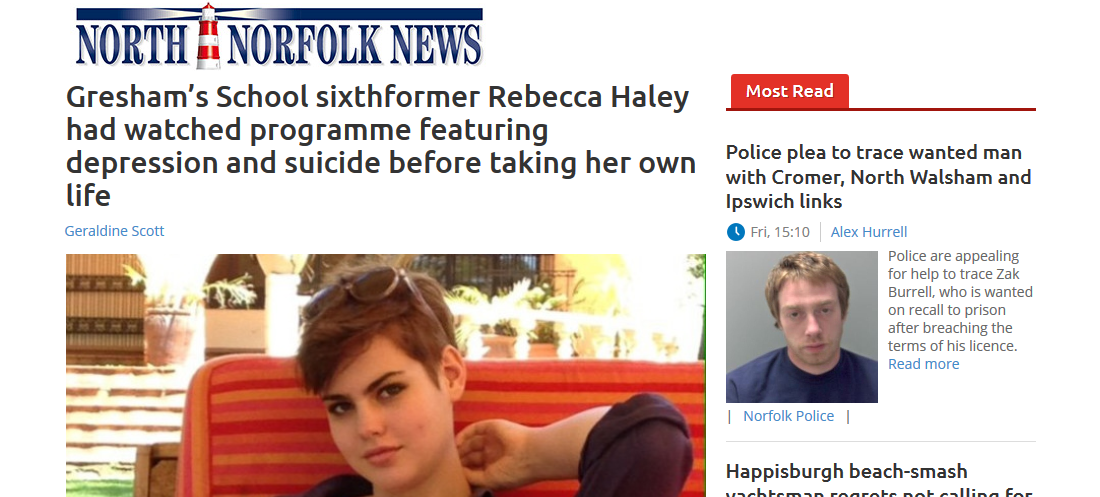 deaths-crisis-north-norfolk-news-greshams-school-sixthformer-rebecca-haley-had-watched-programme-featuring-depression-and-suicide-before-taking-her-own-life