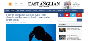 EADT: Bury St Edmunds woman who feels abandoned by mental health service in court again