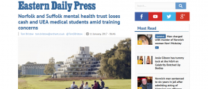 EDP: Norfolk and Suffolk mental health trust loses cash and UEA medical students amid training concerns