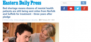 EDP: Bed shortage means dozens of mental health patients are still being sent miles from Norfolk and Suffolk for treatment - three years after pledge