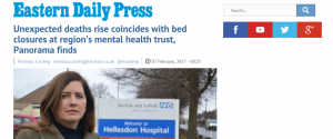 EDP: Unexpected deaths rise coincides with bed closures at region's mental health trust, Panorama finds
