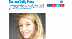 EDP: Health secretary Jeremy Hunt admits care for 19-year-old Lydia Stafford, from Congham, was not good enough before her death
