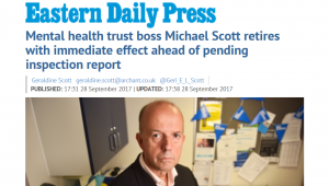 EDP: Mental health trust boss Michael Scott retires with immediate effect ahead of pending inspection report