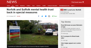 BBC News: Norfolk and Suffolk mental health trust back in special measures