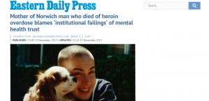 EDP: Mother of Norwich man who died of heroin overdose blames institutional failings of mental health trust