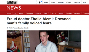 BBC News: Fraud doctor Zholia Alemi: Drowned man's family voiced fears