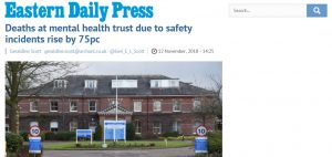 Deaths Crisis: EDP: Deaths at mental health trust due to safety incidents rise by 75pc
