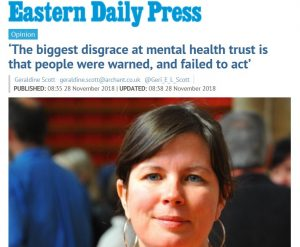 EDP: Opinion: 'The biggest disgrace at mental health trust is that people were warned, and failed to act'