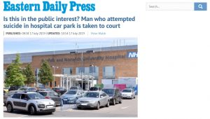 EDP: Is this in the public interest? Man who attempted suicide in hospital car park is taken to court