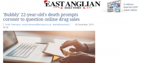 EADT: 'Bubbly' 22-year-old's death prompts coroner to question online drug sales