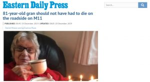 EDP: 81-year-old gran should not have had to die on the roadside on M11