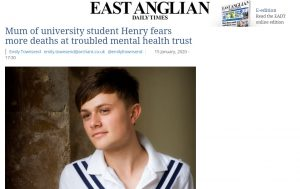EADT: Mum of university student Henry fears more deaths at troubled mental health trust