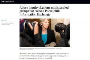 The Times: Abuse inquiry: Norfolk and Waveney STP Chair Patricia Hewitt led group that backed Paedophile Information Exchange